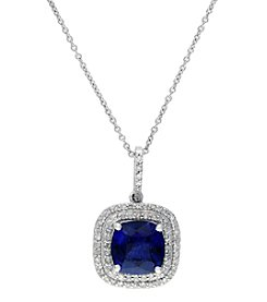 Effy® Lab Created Sapphire And 0.28 Ct. T.W. Diamond Pendant In 14k White Gold