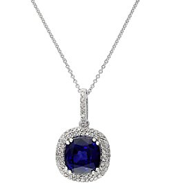 Effy® Lab Created Sapphire And 0.23 Ct. T.W. Diamond Pendant In 14K White Gold