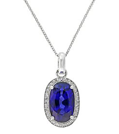 Effy® Lab Created Sapphire And 0.13 Ct. T.W. Diamond Pendant In 14K White Gold