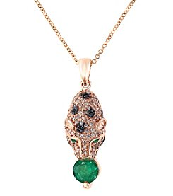Effy® Signature Collection Emerald And 0.42 Ct. T.W. Diamond Pendant In 14K Rose Gold