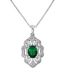 Effy® Emerald And 0.17 Ct. T.W. Diamond Pendant In 14K White Gold