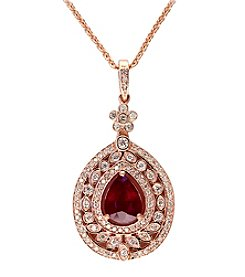 Effy® Ruby Royale Collection Ruby And 0.57 Ct. T.W. Diamond Pendant In 14K Rose Gold