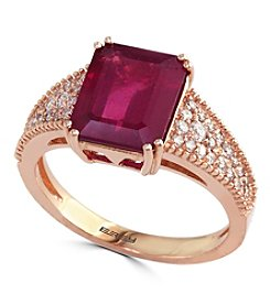 Effy® Ruby Royale Collection Lead Glass Filled Ruby And 0.27 Ct. T.W. Diamond Ring In 14K Rose Gold