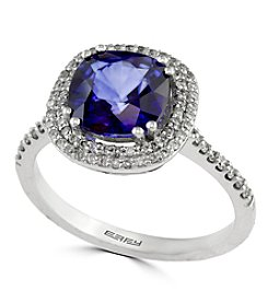 Effy® Lab Created Sapphire And 0.29 Ct. T.W. Diamond Ring In 14K White Gold