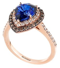 Effy® Royale Bleu Collection Lab Created Sapphire And 0.54 Ct. T.W. Diamond Ring In 14K Rose Gold