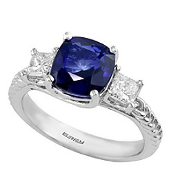 Effy® Royale Bleu Collection Lab Created Sapphire And 0.49 Ct. T.W. Diamond Ring In 14K White Gold
