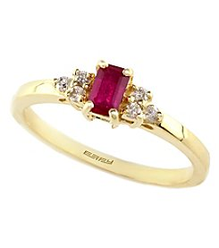 Effy® Ruby Royale Collection Lead Glass Filled Ruby And 0.09 Ct. T.W. Diamond Ring In 14K Yellow Gold