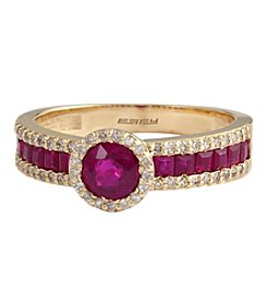 Effy® Ruby Royale Collection Ruby And 0.22 Ct. T.W. Diamond Ring In 14K Yellow Gold