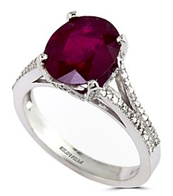 Effy® Ruby Royale Collection Lead Glass Filled Ruby And 0.33 Ct. T.W. Diamond Ring In 14K White Gold
