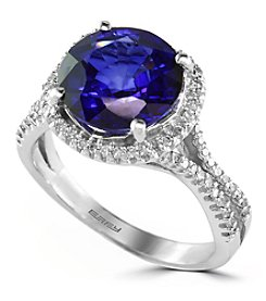 Effy® Lab Created Sapphire And 0.38 Ct. T.W. Diamond Ring In 14k White Gold