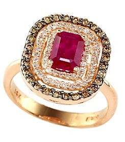 Effy® Ruby Royale Collection Lead Glass Filled Ruby And 0.49 Ct. T.W. Diamond Ring In 14K Rose Gold