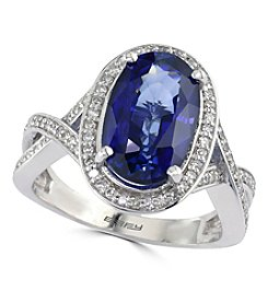 Effy® Lab Created Sapphire And 0.31 Ct. T.W. Diamond Ring In 14K White Gold