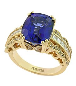 Effy® Royale Bleu Collection Sapphire And 0.94 Ct Tw Diamond Ring In 14k Yellow Gold