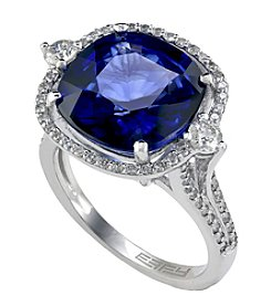 Effy® Royale Bleu Collection Lab Created Sapphire And 0.58 Ct. T.W. Diamond Ring In 14K White Gold