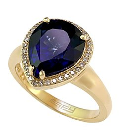 Effy® Royale Bleu Collection Lab Created Sapphire And 0.13 Ct. T.W. Diamond Ring In 14K Yellow Gold