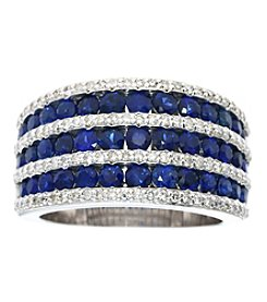 Effy® Royale Bleu Collection Lab Created Sapphire And 0.53 Ct. T.W. Diamond Ring In 14K White Gold