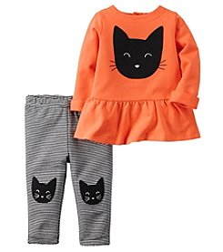 Carter's® Baby Girls' 2-Piece Cat Peplum Top And Leggings Set