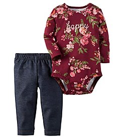 Carter's® Baby Girls' 2-Piece Floral Bodysuit And Jeggings Set