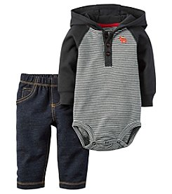 Carter's® Baby Boys 2-Piece Hooded Bodysuit And Jeans Set
