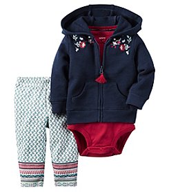 Carter's® Baby Girls' 3-Piece Embroidered Hoodie & Leggings Set