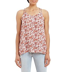 Pink Rose® Double Strap Printed Henley Tank-Top