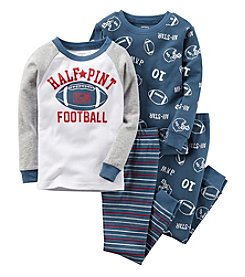 Carter's® Boys' 12M-12 4-Piece Cotton Half Pint Football Pajama Set