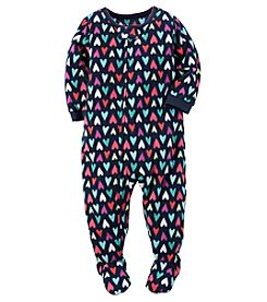 Carter's® Girls' 12M-12 One Piece Fleece Hearts Sleeper