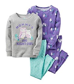 Carter's® Girls' 12M-12 4-Piece Cotton Night Owl Pajama Set