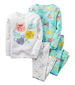 Carter's® Girls' 12M-12 4-Piece Sleepy Animals Pajama Set