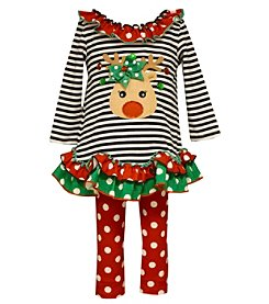 Bonnie Jean® Baby Girls' 2-piece Reindeer Tunic and Leggings Set