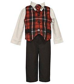 Bonnie Jean® Baby Boys' 4-piece Plaid Vest Set