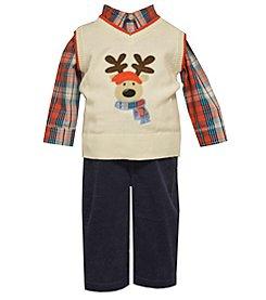 Bonnie Jean® Baby Boys' 3-piece Reindeer Vest Set