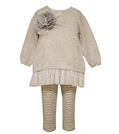 Bonnie Jean® Baby Girls' 2-Piece Rosette Sweater And Leggings Set