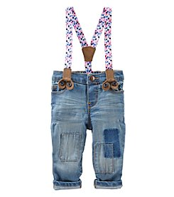 OshKosh B'Gosh® Baby Girls' Patched Pants With Floral Suspenders
