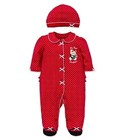 Little Me® Baby Girls' My First Christmas Bear Footie with Hat