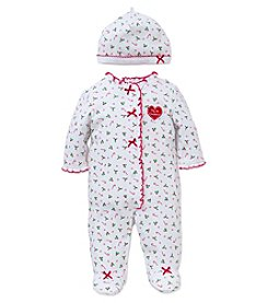 Little Me® Baby Girls' My First Christmas Candy Cane Footie with Hat