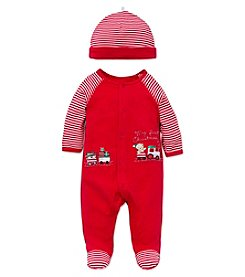 Little Me® Baby Boys My First Christmas Train Footie with Hat