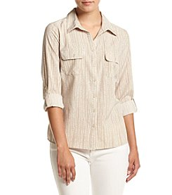 Notations® Petites' Printed  Button Front Woven Top