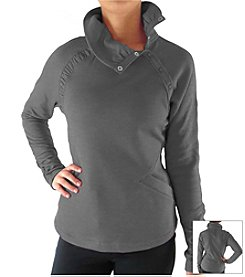 Ryka® Plus Size Long Sleeve Snap Collar Pullover Top