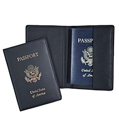 Royce® Leather Gold Stamped RFID Blocking Passport Travel Document Organizer