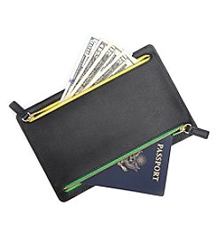 Royce® Leather RFID Blocking Zippered Currency and Passport Travel Document Organizer Pouch