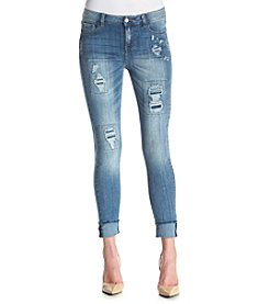 Hippie Laundry Light Wash Destructed  Skinny Ankle Jeans