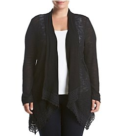 Eyeshadow® Plus Size Crochet Hem Open Cardigan