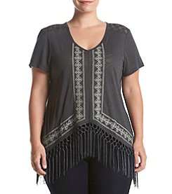 Skylar & Jade™ Plus Size Embroidered Tee With Fringe