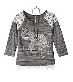 Beautees Girls' 7-16 Long Sleeve Elephant Tee With Necklace