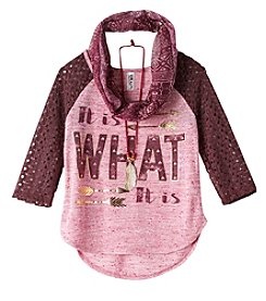 Beautees Girls' 7-16 Long Sleeve Tee With Scarf And Necklace