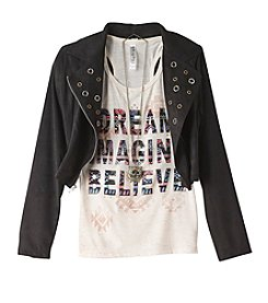 Beautees Girls' 7-16 Short Sleeve Tee With Suede Moto Jacket And Necklace