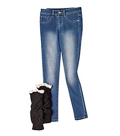 Squeeze® Girls' 7-16 Pull-On Skinny Jeans With Leg Warmers