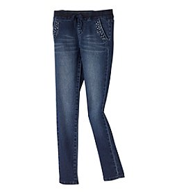 Squeeze® Girls' 7-16 Pull-On Rhinestone Pocket Skinny Jeans