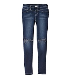 Squeeze® Girls' 7-16 Bling Distressed Knee Skinny Jeans